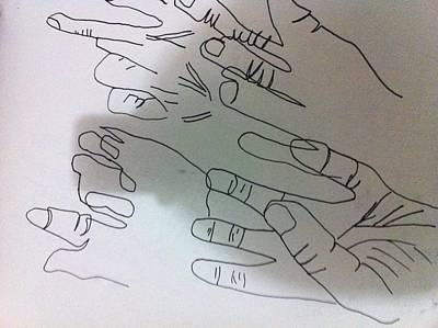 Drawing - Hand Contour by Khoa Luu
