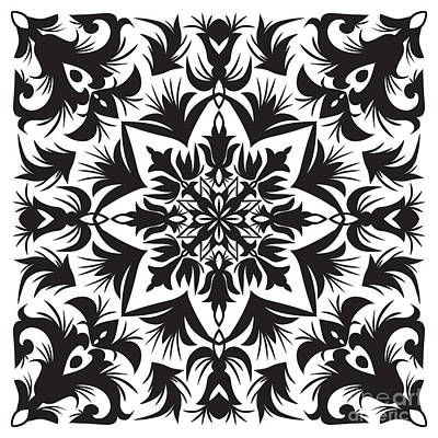 Mosaic Wall Art - Digital Art - Hand Drawing Pattern For Tile In Black by Zinaida Zaiko