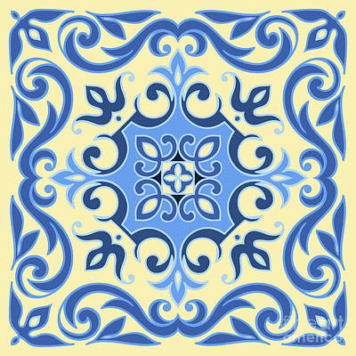 Mosaic Wall Art - Digital Art - Hand Drawing Tile Pattern In  Blue And by Zinaida Zaiko