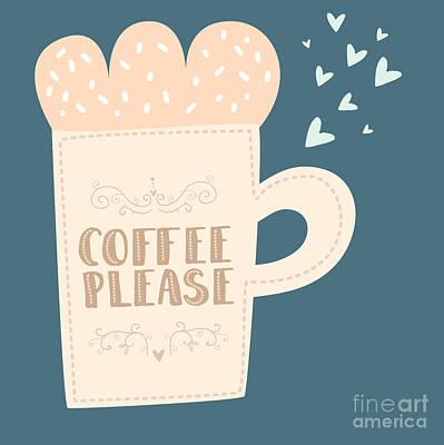 Sign Wall Art - Digital Art - Hand Drawn Coffee And Tea Cups With by Juliadeep