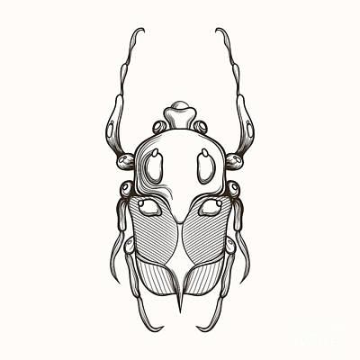 Rhino Wall Art - Digital Art - Hand Drawn Engraving Sketch Scarab by Panki