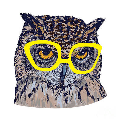 Zoo Wall Art - Digital Art - Hand Drawn Owl Face With Yellow by Melek8