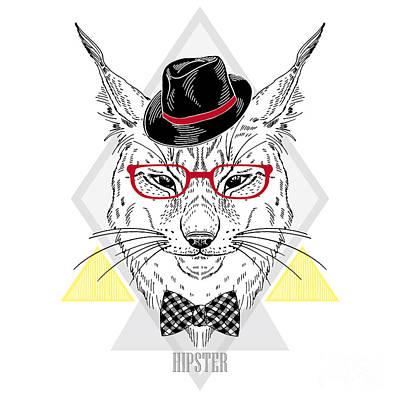 Accessories Wall Art - Digital Art - Hand Drawn Portrait Of Hipster Lynx In by Olga angelloz