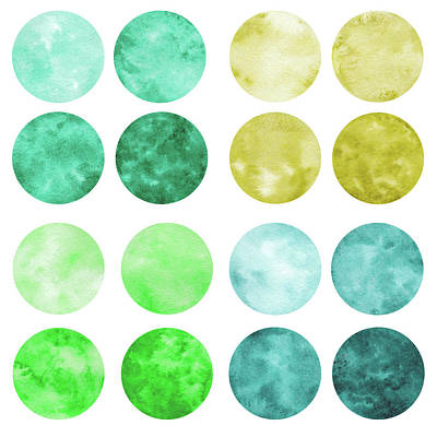Digital Art - Hand Drawn Set Of Green Watercolor by Olgaolmix