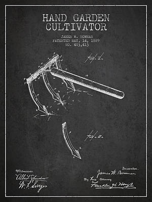 Farming Digital Art - Hand Garden Cultivator Patent From 1889 - Dark by Aged Pixel