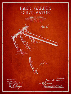 Farming Digital Art - Hand Garden Cultivator Patent From 1889 - Red by Aged Pixel