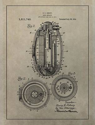 Infantryman Mixed Media - Hand Grenade Patent by Dan Sproul
