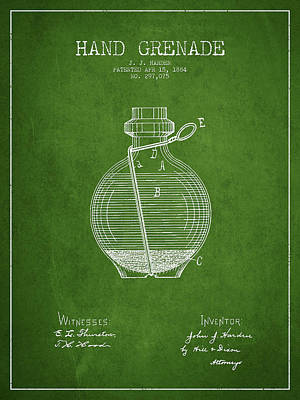 Hand Grenade Patent Drawing From 1884 - Green Art Print
