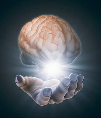 Hand Holding Brain Art Print
