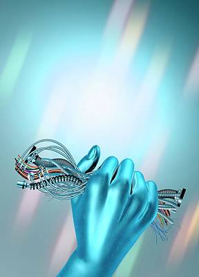 Hand Holding Cables Print by Victor Habbick Visions