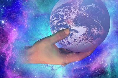 Hand Holding Earth Art Print by Carol & Mike Werner