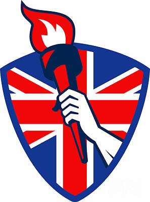 Athletes Royalty-Free and Rights-Managed Images - Hand Holding Flaming Torch British Flag by Aloysius Patrimonio