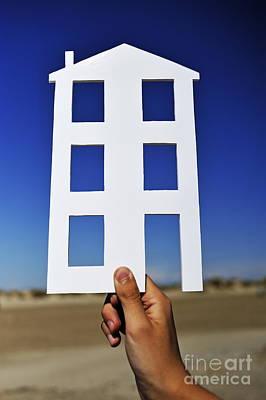 Hand Holding House Shape Outdoors Art Print by Sami Sarkis