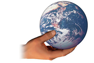 Hand Holding The Earth Art Print by Carol & Mike Werner
