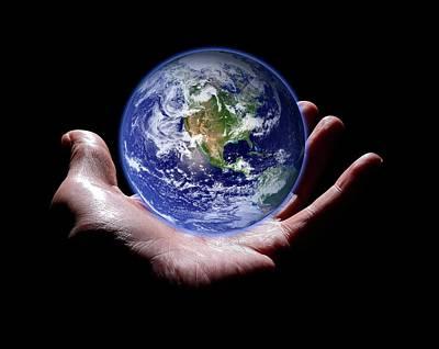 Hand Holding The Earth Art Print