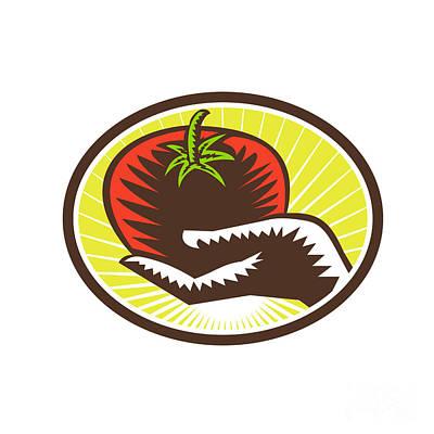 Agriculture Digital Art - Hand Holding Tomato Circle Woodcut by Aloysius Patrimonio