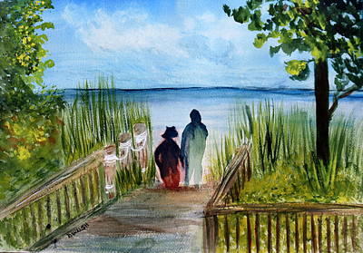 Painting - Hand In Hand At Atlantic Dunes Beach by Donna Walsh