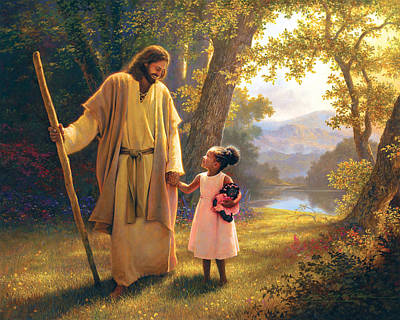 Smiling Jesus Painting - Hand In Hand by Greg Olsen