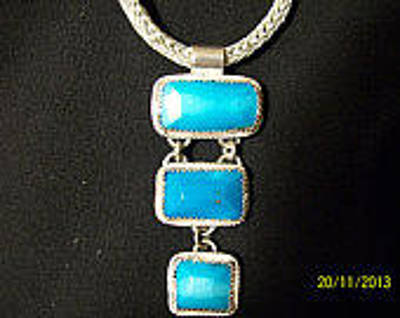 Sterling Silver Chains Jewelry - Hand Made Silver And Turquoise Necklace by Sabrina Cole