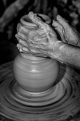 Handmade Hand Made Ceramic Pottery Pot Pots Photograph - Hand Moulding A Clay Pot by Nelson Cortez