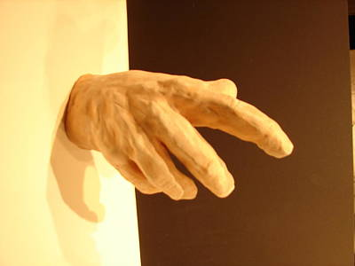 Natural Finish Sculpture - Hand Of God Ired Clay by Joseph Hawkins