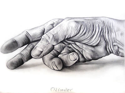 Drawing - Hand Of Hard Work by Atinderpal Singh