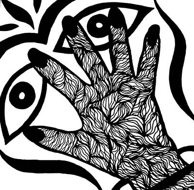 Abstract Design Drawing - Hand Over Eyes by Beth Akerman