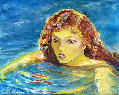 Hand Painted Art Adult Female Swimmer Art Print by Lenora  De Lude