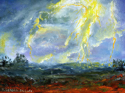 Thunder Painting - Hand Painted Art Louisiana Storm by Lenora  De Lude