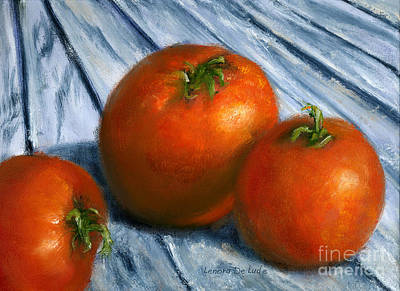 Painting - Hand Painted Art Still  Life Tomatoes by Lenora  De Lude