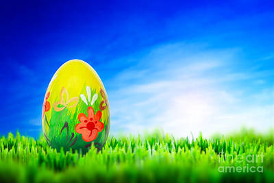 Sunny Photograph - Hand Painted Easter Egg On Grass by Michal Bednarek