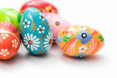 Hand Photograph - Hand Painted Easter Eggs On White by Michal Bednarek