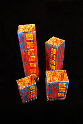 Glass Art - Hand Painted Glass Set Of Four Reds by Christopher Schranck