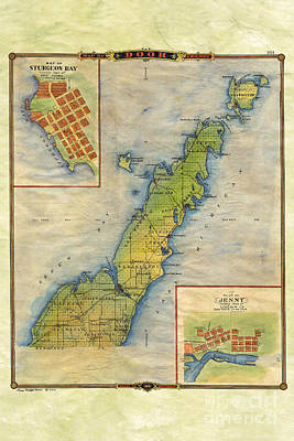 Hand Painted Map Of Door County  Art Print by Lisa Middleton
