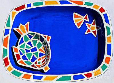 Ceramic Fish Photograph - Hand-painted Mosaic Tray - Ceramic by Barbara Griffin