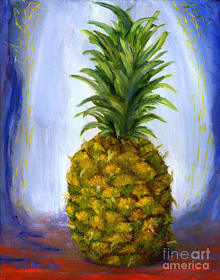 Still Life Painting - Hand Painted Pineapple Fruit  by Lenora  De Lude