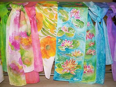 Painting - Hand-painted Silk Scarves by Shan Ungar