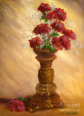 Hand Painted Painting - Hand Painted Still Life Red Flowers Gold Vase by Lenora  De Lude