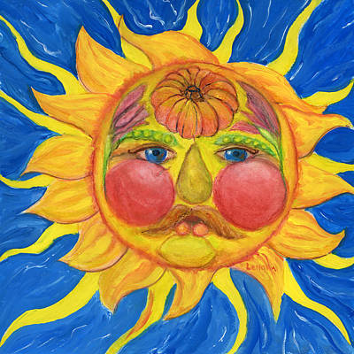 Painting - Hand Painted Sun As Vertumnus by Lenora  De Lude