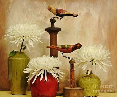 Hand Painted Wooden Birds With Mums Art Print by Marsha Heiken
