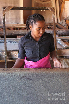 Photograph - hand papermaking in Madagascar 1 by Rudi Prott