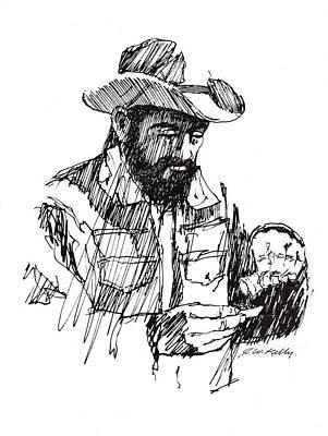 Hand Rolling Cowboy Original by J W Kelly
