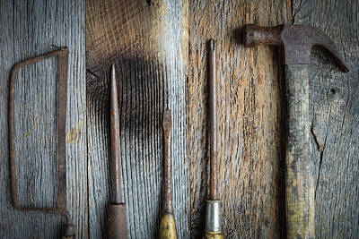Hand Saw Hammer And Screwdrivers On Rustic Wood Background Art Print by Brandon Bourdages