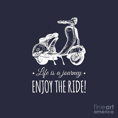 Motorcycles Wall Art - Digital Art - Hand Sketched Scooter Banner With by Vlada Young