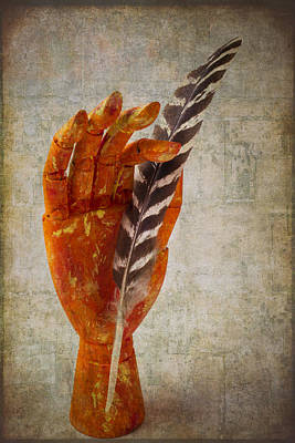 Hand With Feather Art Print by Garry Gay