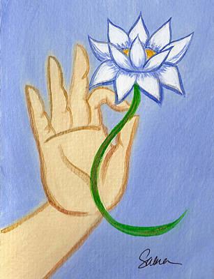 Painting - Gyana Mudra With Lotus Mini by Sabina Espinet