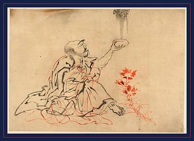 Buddha Drawing - Handaka Sonja, Handaka Sonja One Of The Sixteen Rakan Or by Japanese School
