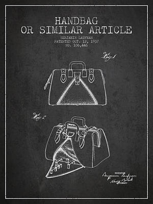 Handbag Digital Art - Handbag Or Similar Article Patent From 1937 - Charcoal by Aged Pixel