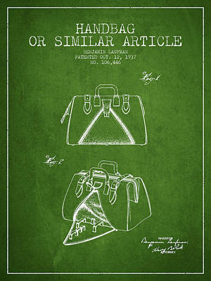 Pouch Drawing - Handbag Or Similar Article Patent From 1937 - Green by Aged Pixel