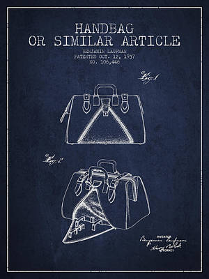Pouch Drawing - Handbag Or Similar Article Patent From 1937 - Navy Blue by Aged Pixel
